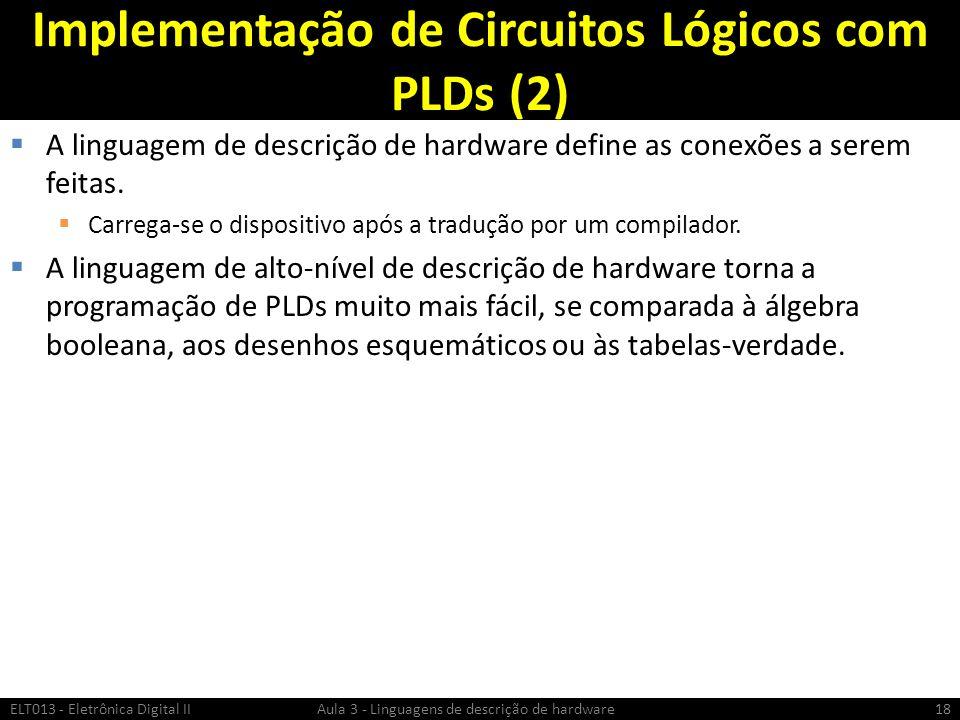 Implementação de Circuitos Lógicos com PLDs (2) A linguagem de descrição de hardware define as conexões a serem feitas.