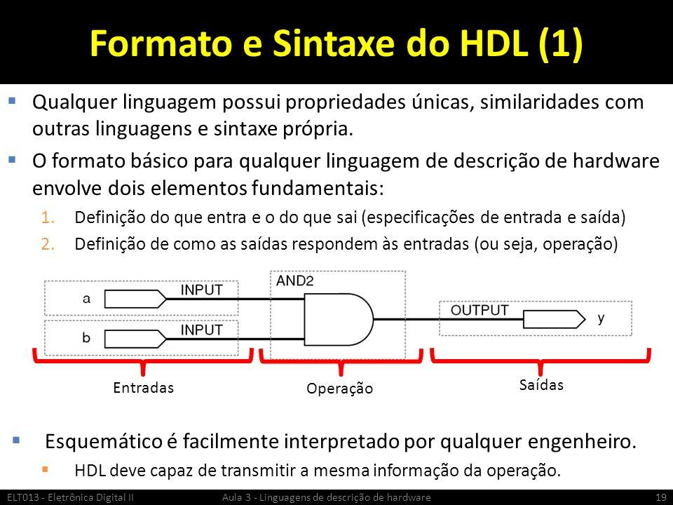 Formato e Sintaxe do HDL (1) Qualquer linguagem possui propriedades únicas, similaridades com outras linguagens e sintaxe própria.