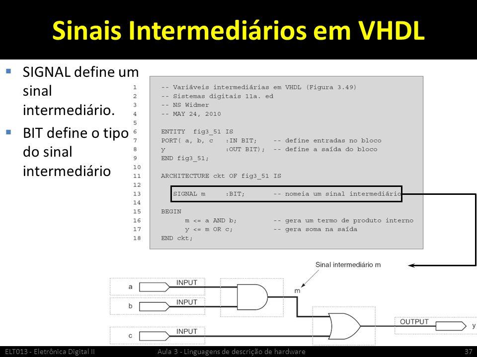Sinais Intermediários em VHDL SIGNAL define um sinal intermediário.