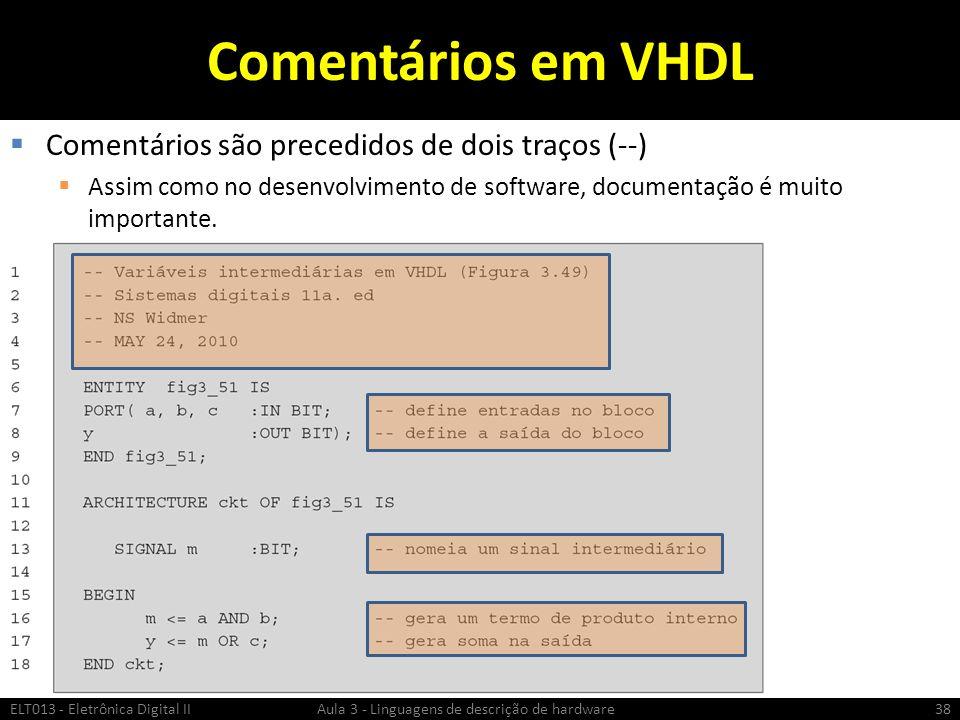 Comentários em VHDL Comentários são precedidos de dois traços (--) Assim como no desenvolvimento de software, documentação é muito importante.