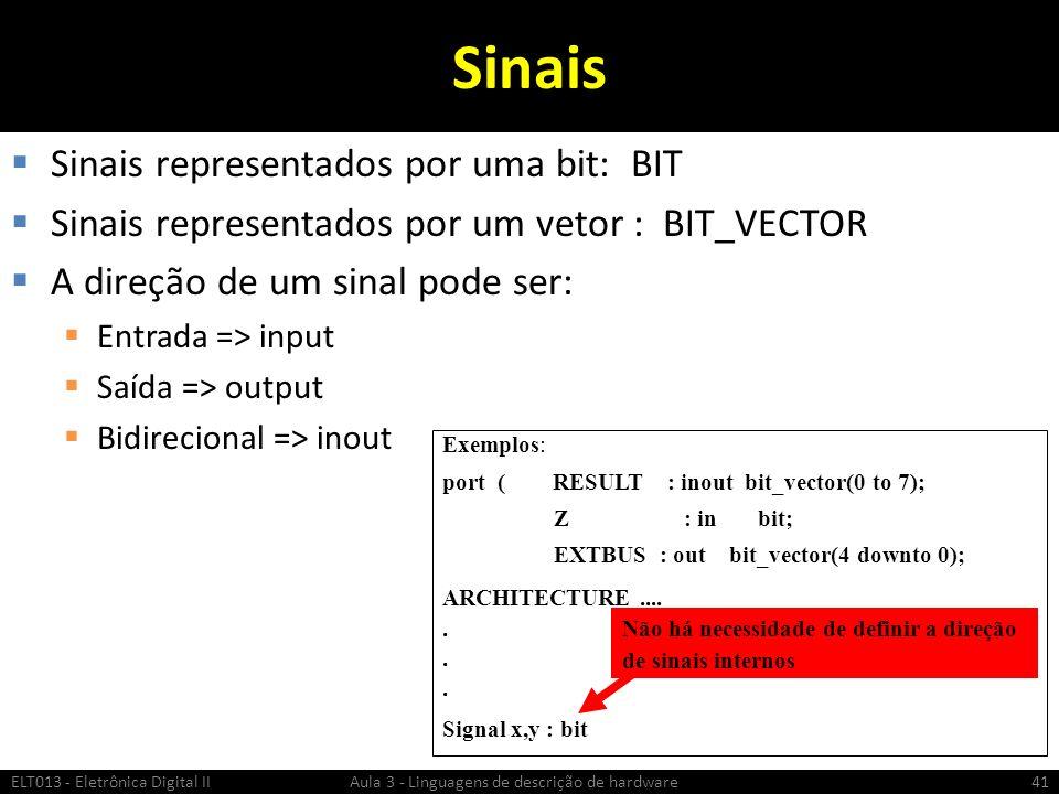 Sinais Sinais representados por uma bit: BIT Sinais representados por um vetor : BIT_VECTOR A direção de um sinal pode ser: Entrada => input Saída => output Bidirecional => inout ELT013 - Eletrônica Digital II Aula 3 - Linguagens de descrição de hardware41 Exemplos: port ( RESULT : inout bit_vector(0 to 7); Z : in bit; EXTBUS : out bit_vector(4 downto 0); ARCHITECTURE.....