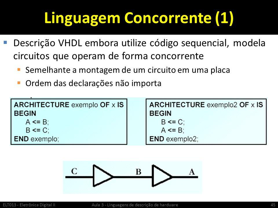 Linguagem Concorrente (1) Descrição VHDL embora utilize código sequencial, modela circuitos que operam de forma concorrente Semelhante a montagem de um circuito em uma placa Ordem das declarações não importa ELT013 - Eletrônica Digital II Aula 3 - Linguagens de descrição de hardware45