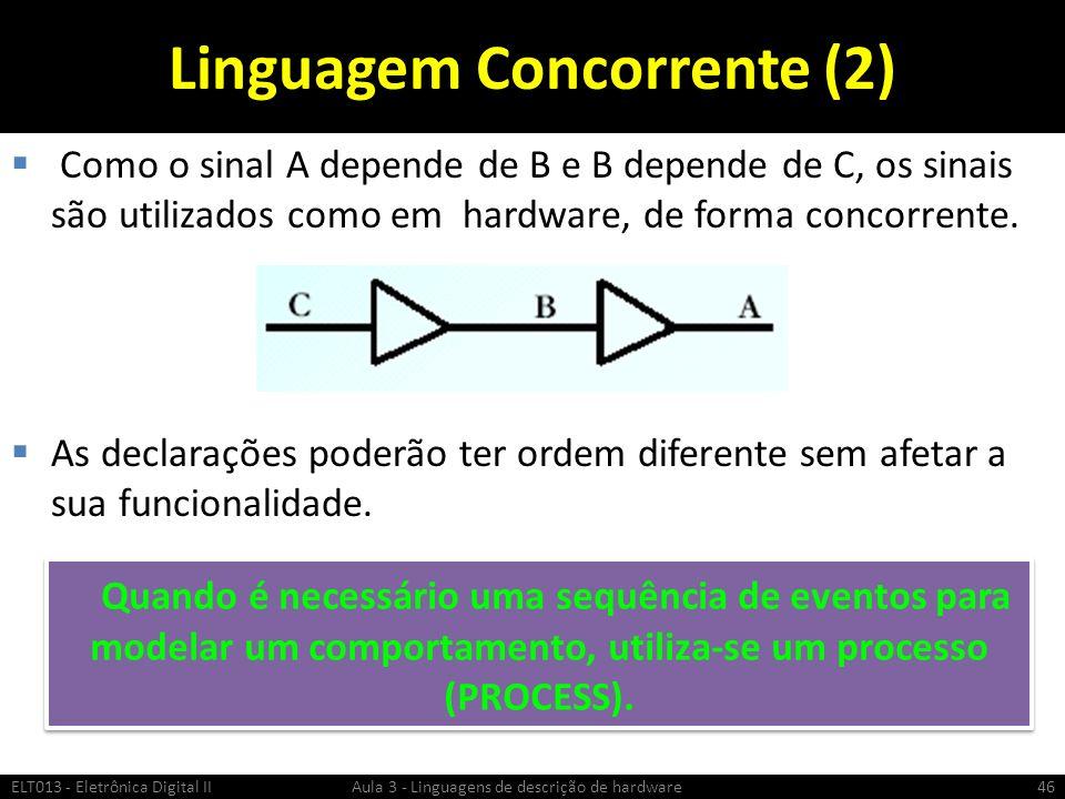 Linguagem Concorrente (2) Como o sinal A depende de B e B depende de C, os sinais são utilizados como em hardware, de forma concorrente.