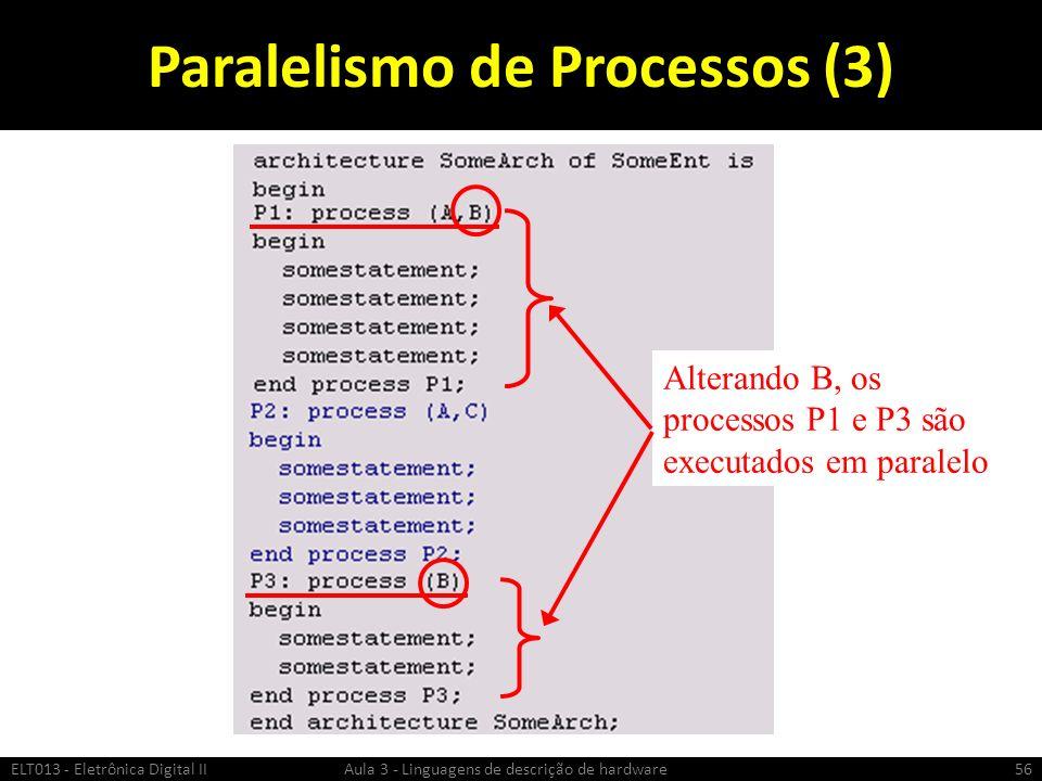 Paralelismo de Processos (3) ELT013 - Eletrônica Digital II Aula 3 - Linguagens de descrição de hardware56 Alterando B, os processos P1 e P3 são executados em paralelo