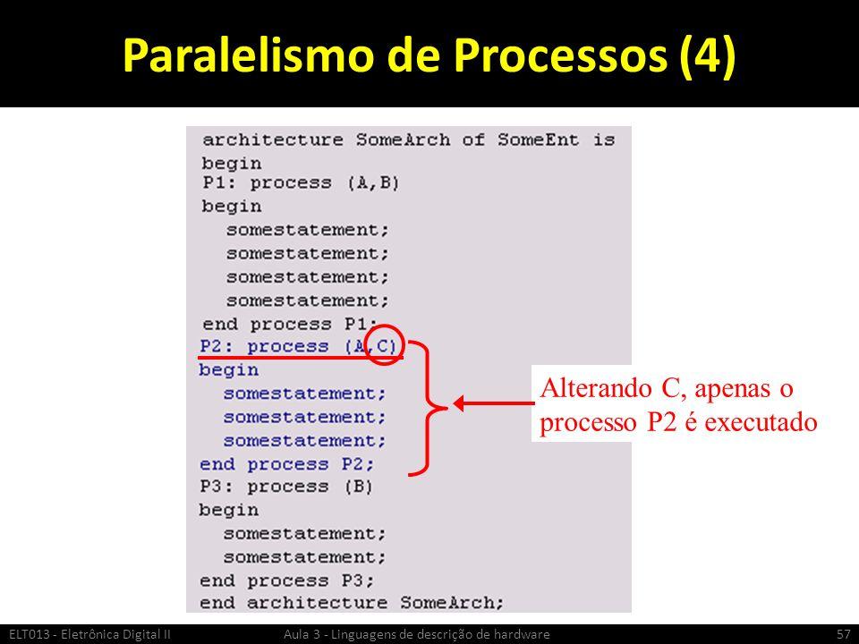 Paralelismo de Processos (4) ELT013 - Eletrônica Digital II Aula 3 - Linguagens de descrição de hardware57 Alterando C, apenas o processo P2 é executado
