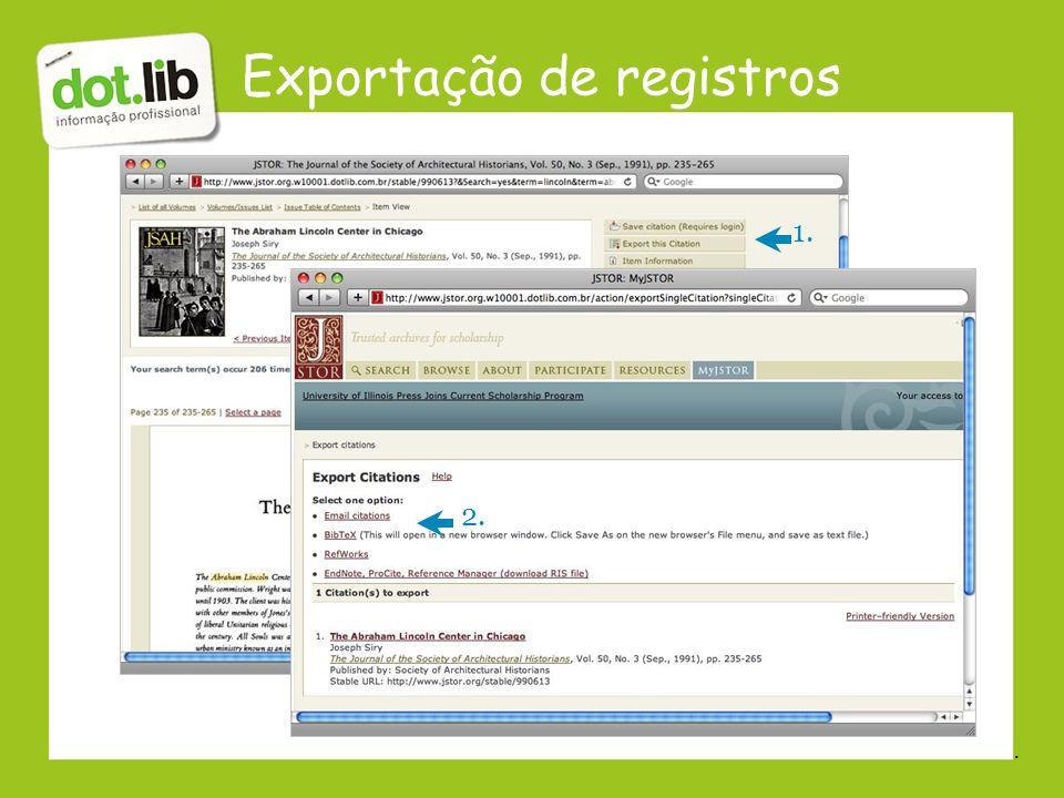Exportação de registros 2. 1..