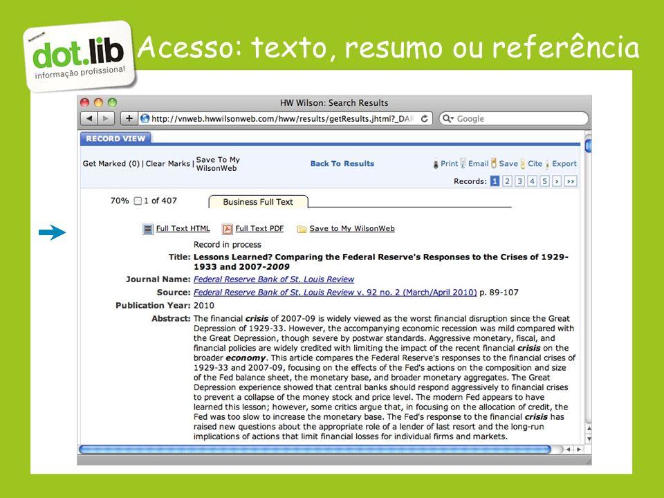 Acesso: texto, resumo ou referência