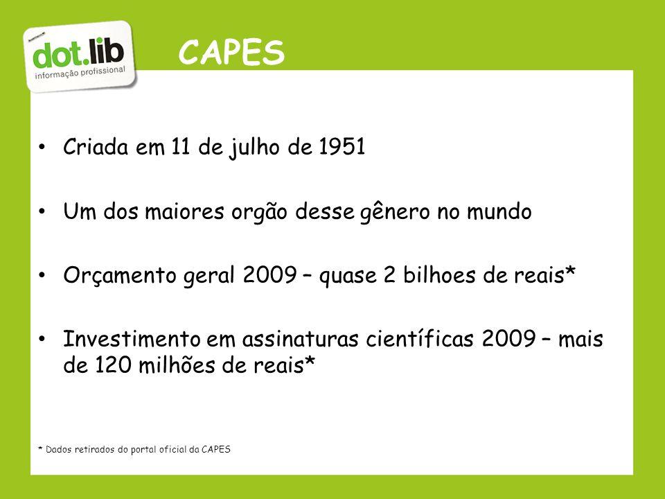 CAPES Criada em 11 de julho de 1951 Um dos maiores orgão desse gênero no mundo Orçamento geral 2009 – quase 2 bilhoes de reais* Investimento em assina