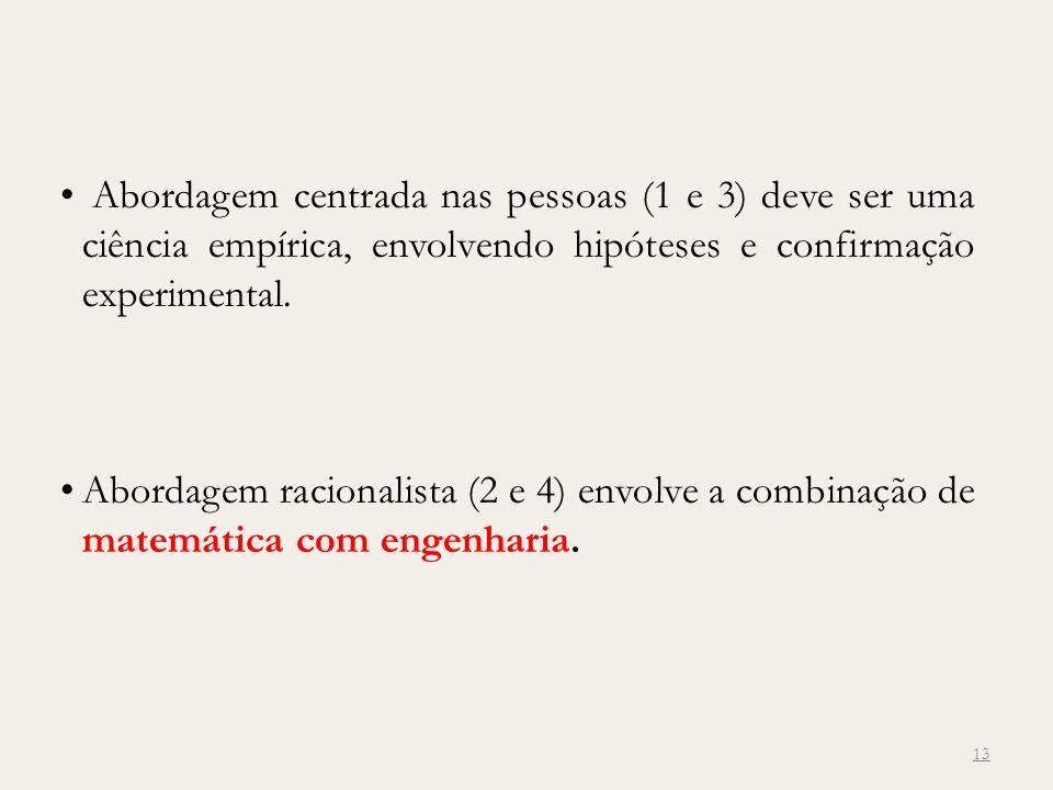 13 Abordagem centrada nas pessoas (1 e 3) deve ser uma ciência empírica, envolvendo hipóteses e confirmação experimental. Abordagem racionalista (2 e