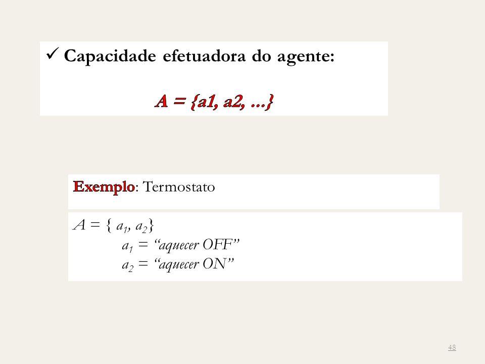 A = { a 1, a 2 } a 1 = aquecer OFF a 2 = aquecer ON 48