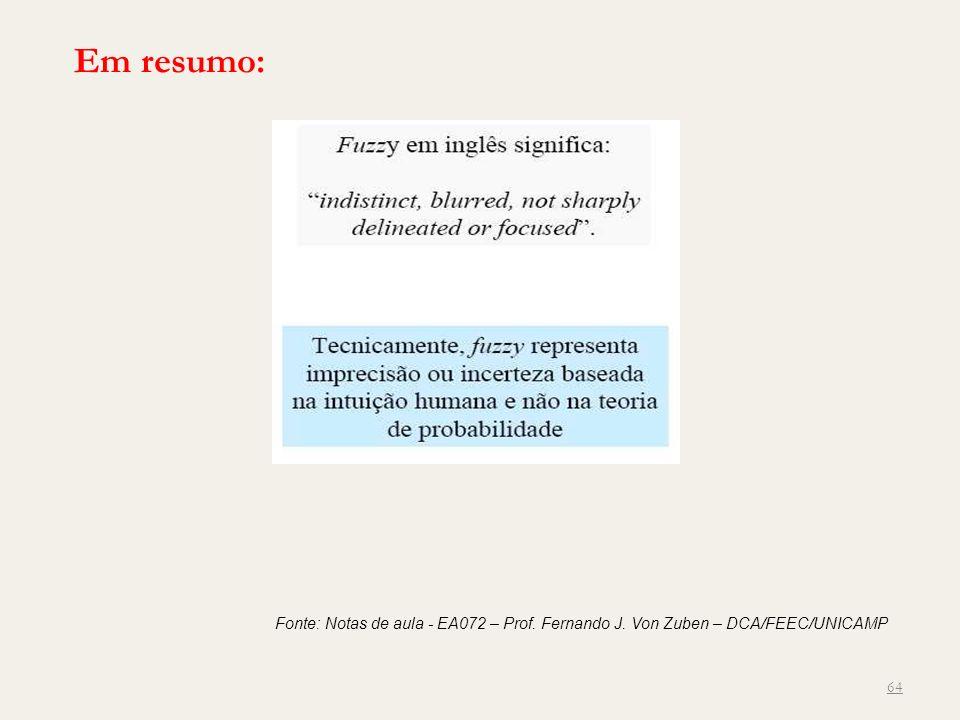 64 Fonte: Notas de aula - EA072 – Prof. Fernando J. Von Zuben – DCA/FEEC/UNICAMP Em resumo: