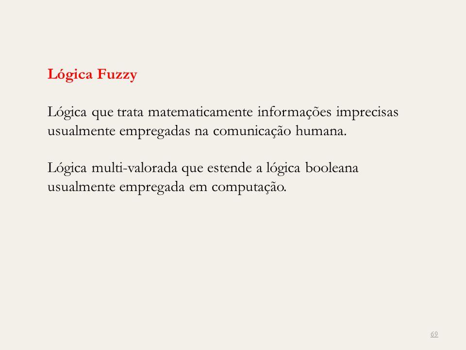 Lógica Fuzzy Lógica que trata matematicamente informações imprecisas usualmente empregadas na comunicação humana. Lógica multi-valorada que estende a