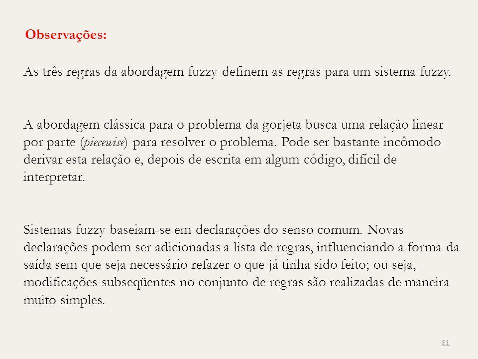 Observações: As três regras da abordagem fuzzy definem as regras para um sistema fuzzy. A abordagem clássica para o problema da gorjeta busca uma rela