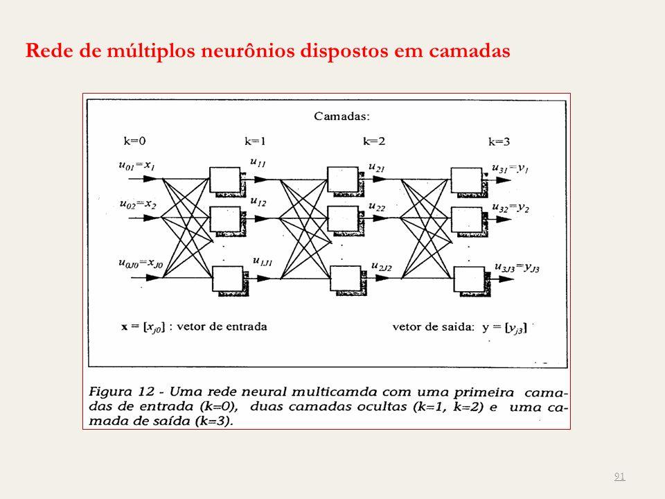 Rede de múltiplos neurônios dispostos em camadas 91