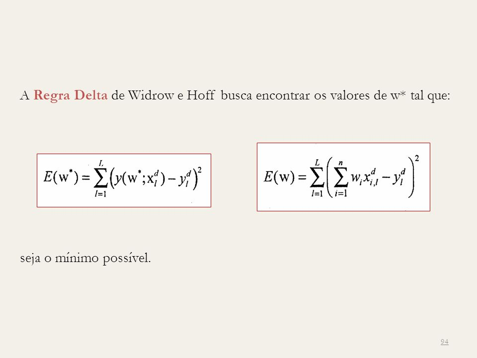A Regra Delta de Widrow e Hoff busca encontrar os valores de w* tal que: 94 seja o mínimo possível.