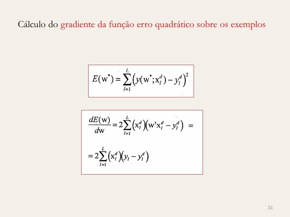 Cálculo do gradiente da função erro quadrático sobre os exemplos 96