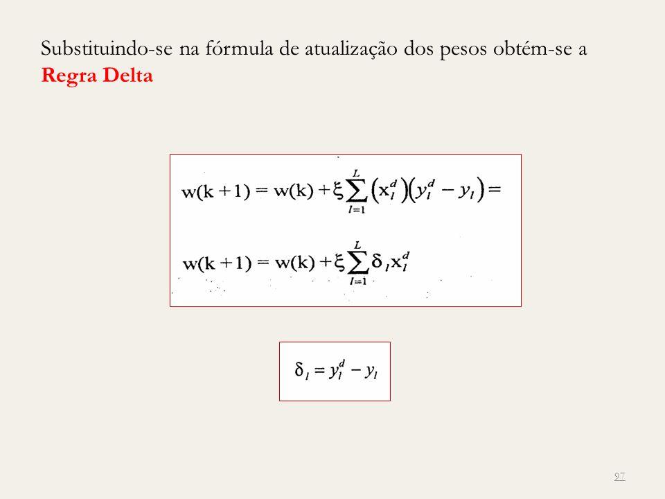 Substituindo-se na fórmula de atualização dos pesos obtém-se a Regra Delta 97