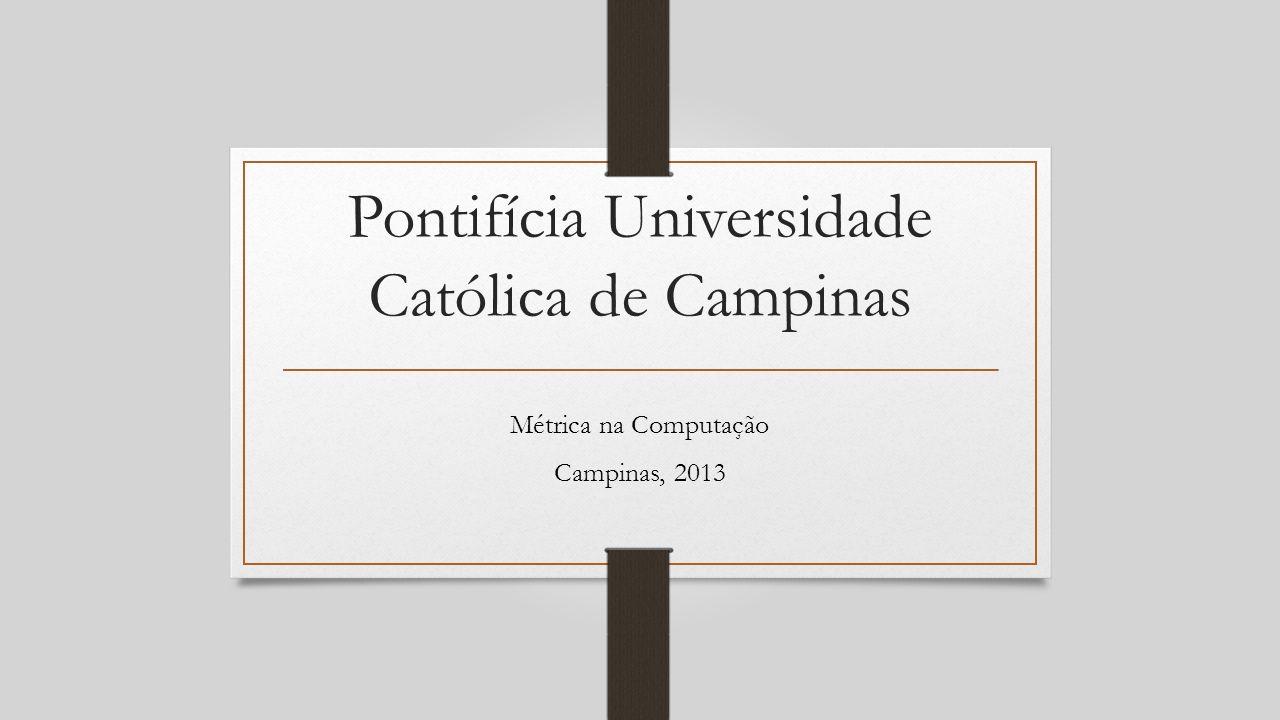Pontifícia Universidade Católica de Campinas Métrica na Computação Campinas, 2013
