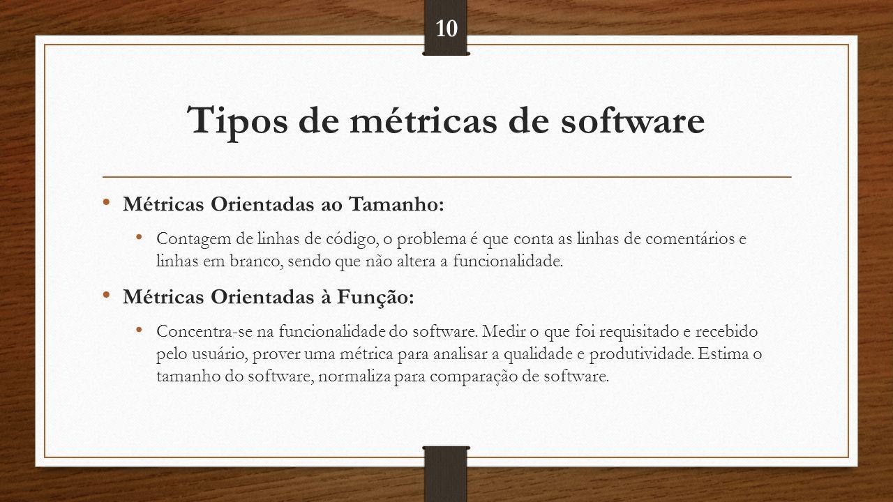 Tipos de métricas de software Métricas Orientadas ao Tamanho: Contagem de linhas de código, o problema é que conta as linhas de comentários e linhas em branco, sendo que não altera a funcionalidade.