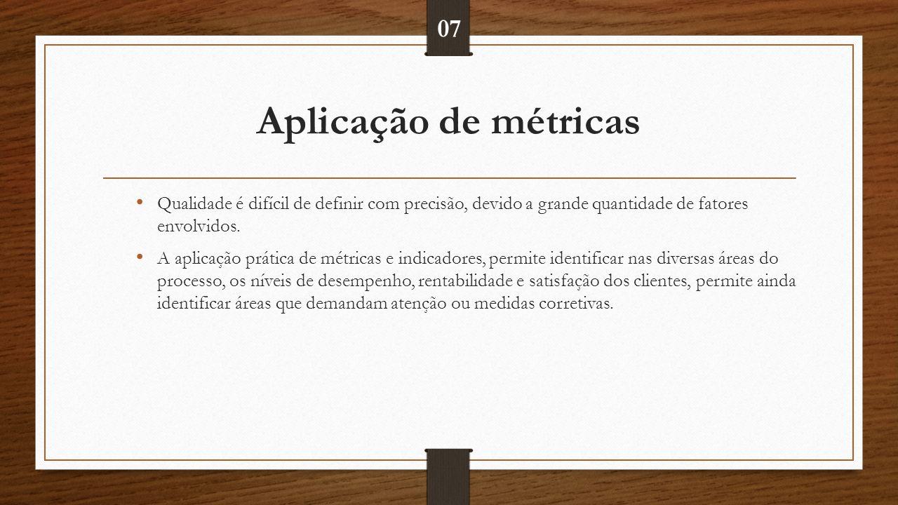 Aplicação de métricas Qualidade é difícil de definir com precisão, devido a grande quantidade de fatores envolvidos.