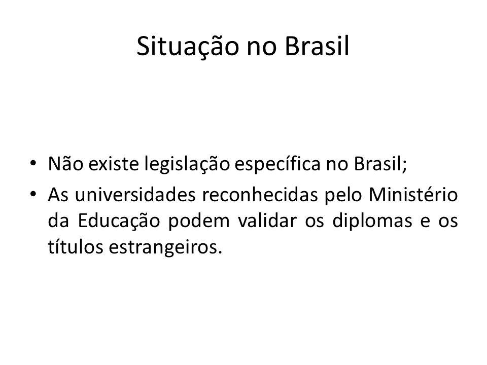 Situação no Brasil Não existe legislação específica no Brasil; As universidades reconhecidas pelo Ministério da Educação podem validar os diplomas e o