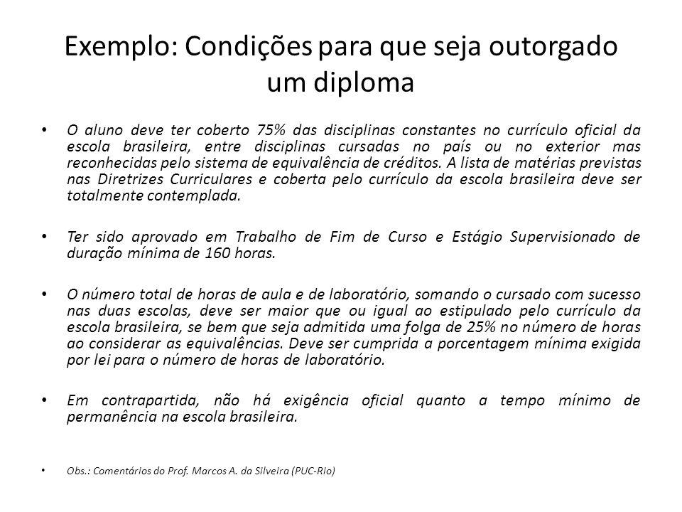 Exemplo: Condições para que seja outorgado um diploma O aluno deve ter coberto 75% das disciplinas constantes no currículo oficial da escola brasileir