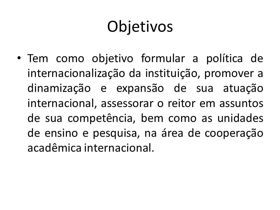 Objetivos Tem como objetivo formular a política de internacionalização da instituição, promover a dinamização e expansão de sua atuação internacional,