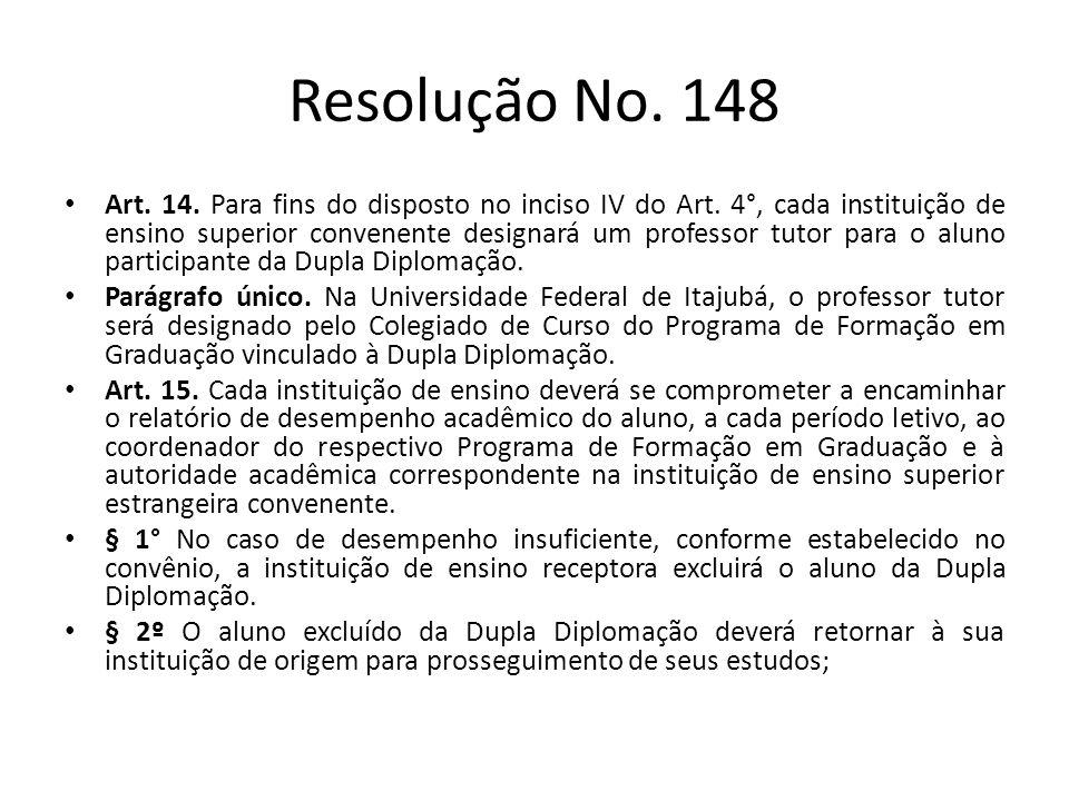 Resolução No. 148 Art. 14. Para fins do disposto no inciso IV do Art. 4°, cada instituição de ensino superior convenente designará um professor tutor