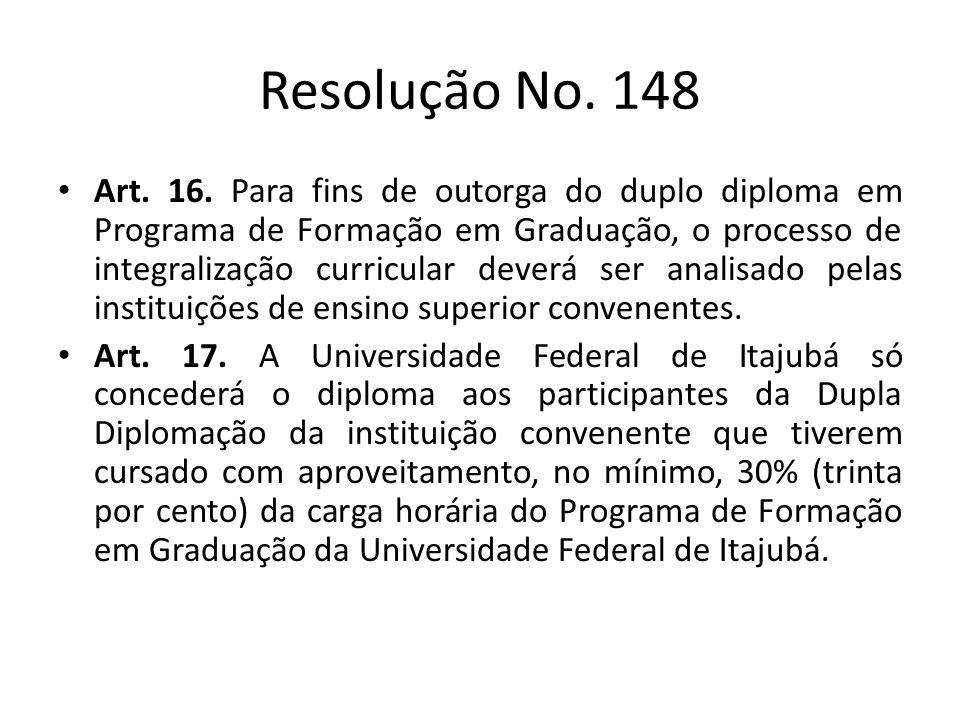 Resolução No. 148 Art. 16. Para fins de outorga do duplo diploma em Programa de Formação em Graduação, o processo de integralização curricular deverá