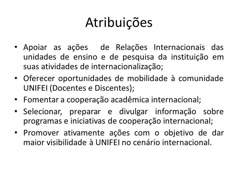 Atribuições Apoiar as ações de Relações Internacionais das unidades de ensino e de pesquisa da instituição em suas atividades de internacionalização;