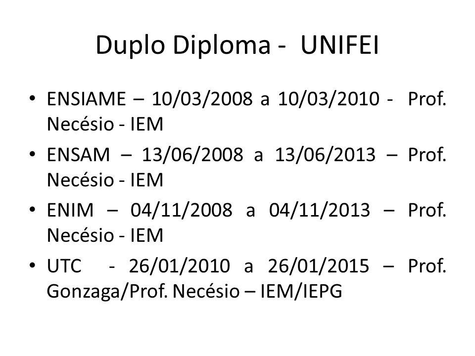 Duplo Diploma - UNIFEI ENSIAME – 10/03/2008 a 10/03/2010 - Prof. Necésio - IEM ENSAM – 13/06/2008 a 13/06/2013 – Prof. Necésio - IEM ENIM – 04/11/2008