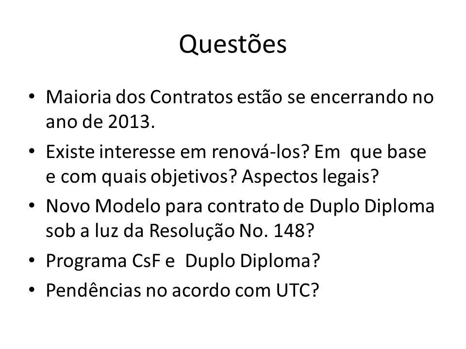 Questões Maioria dos Contratos estão se encerrando no ano de 2013. Existe interesse em renová-los? Em que base e com quais objetivos? Aspectos legais?