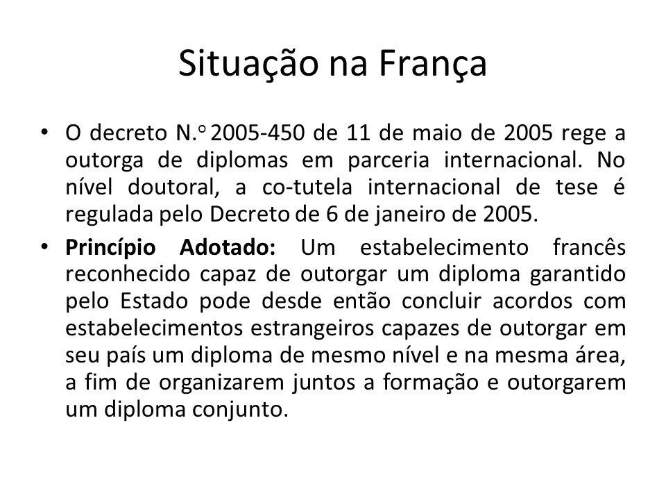 Situação na França O decreto N. o 2005-450 de 11 de maio de 2005 rege a outorga de diplomas em parceria internacional. No nível doutoral, a co-tutela