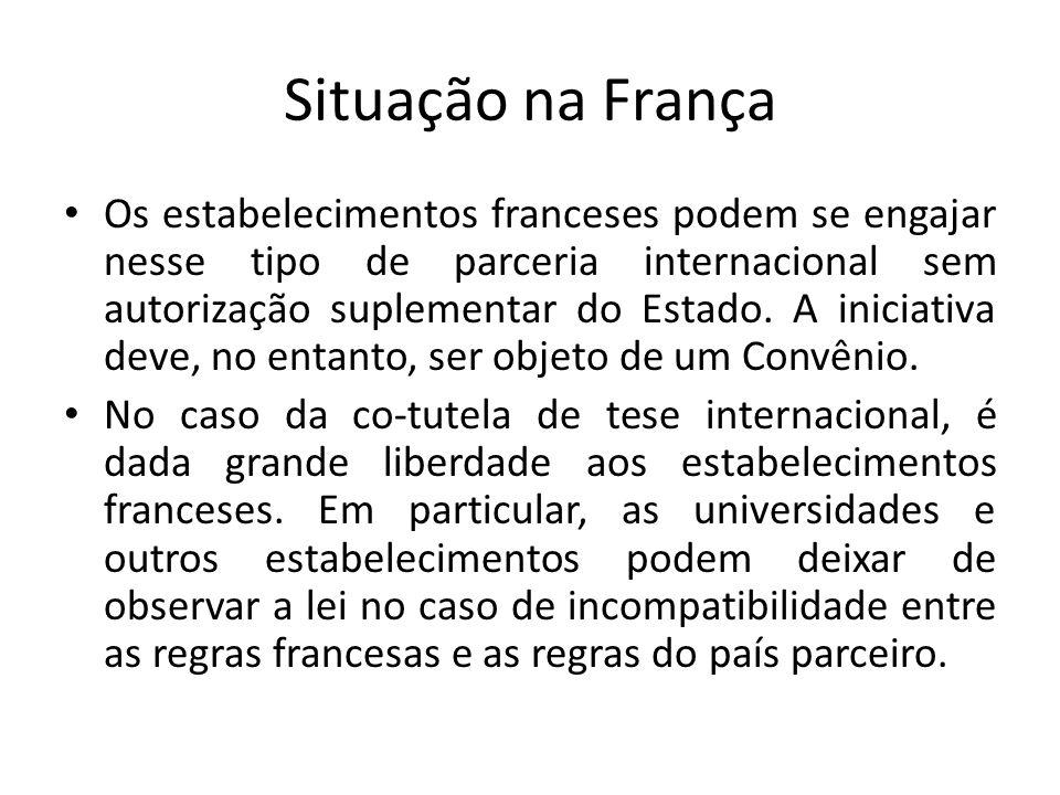 Situação no Brasil Não existe legislação específica no Brasil; As universidades reconhecidas pelo Ministério da Educação podem validar os diplomas e os títulos estrangeiros.