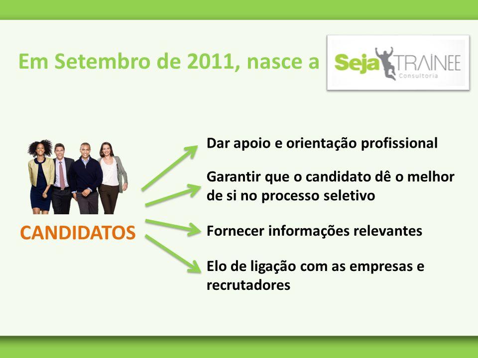 Em Setembro de 2011, nasce a CANDIDATOS Dar apoio e orientação profissional Garantir que o candidato dê o melhor de si no processo seletivo Fornecer i
