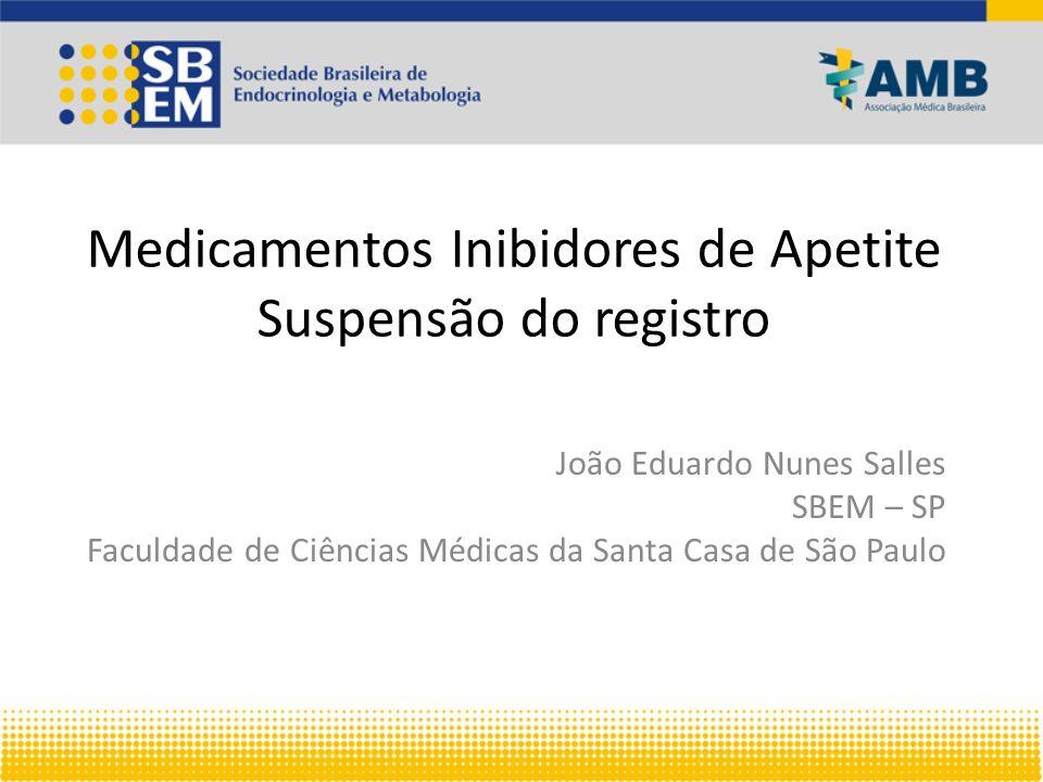 Medicamentos Inibidores de Apetite Suspensão do registro João Eduardo Nunes Salles SBEM – SP Faculdade de Ciências Médicas da Santa Casa de São Paulo
