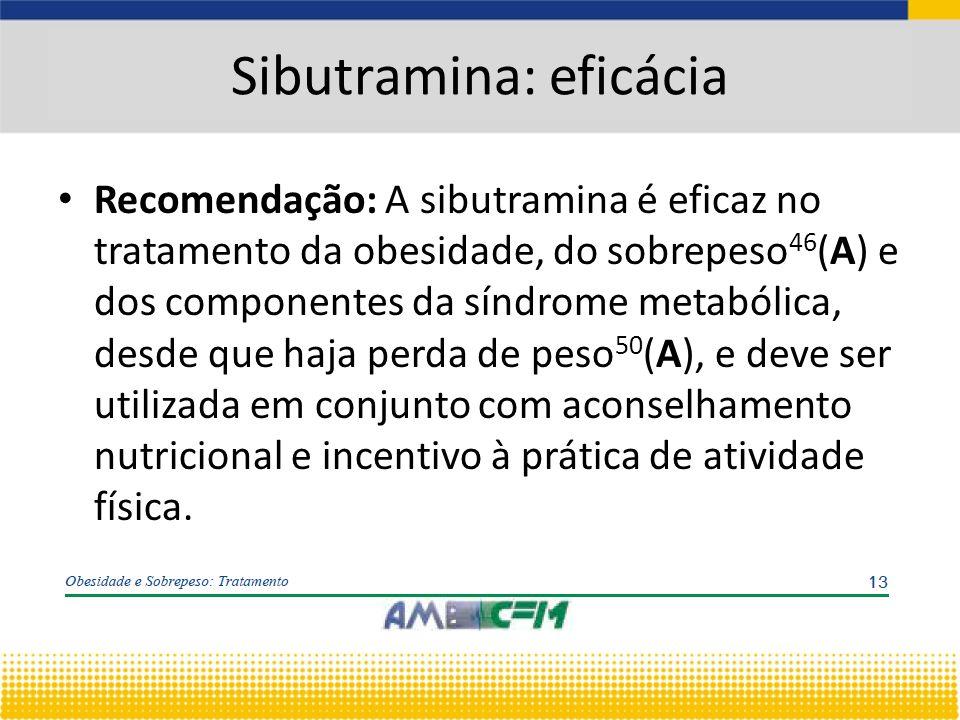Recomendação: A sibutramina é eficaz no tratamento da obesidade, do sobrepeso 46 (A) e dos componentes da síndrome metabólica, desde que haja perda de peso 50 (A), e deve ser utilizada em conjunto com aconselhamento nutricional e incentivo à prática de atividade física.