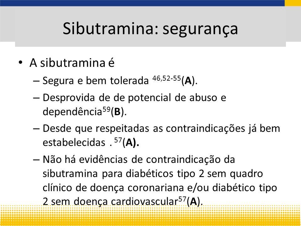 A sibutramina é – Segura e bem tolerada 46,52-55 (A).