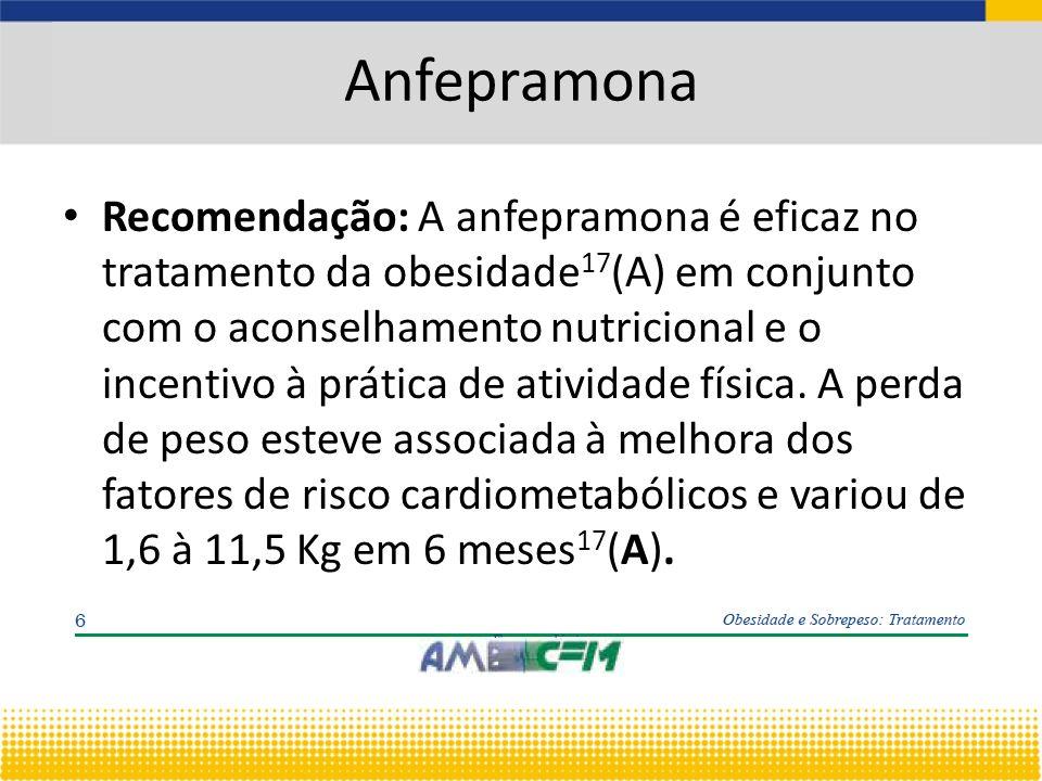 Anfepramona Recomendação: A anfepramona é eficaz no tratamento da obesidade 17 (A) em conjunto com o aconselhamento nutricional e o incentivo à prática de atividade física.