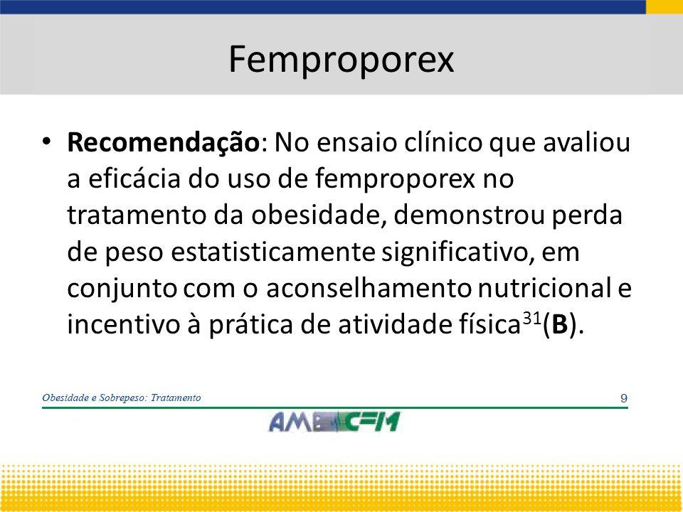 Femproporex Recomendação: No ensaio clínico que avaliou a eficácia do uso de femproporex no tratamento da obesidade, demonstrou perda de peso estatisticamente significativo, em conjunto com o aconselhamento nutricional e incentivo à prática de atividade física 31 (B).
