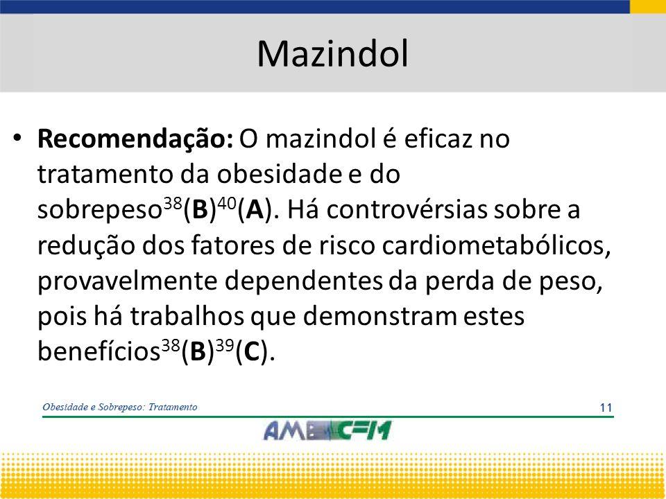Mazindol Recomendação: O mazindol é eficaz no tratamento da obesidade e do sobrepeso 38 (B) 40 (A).