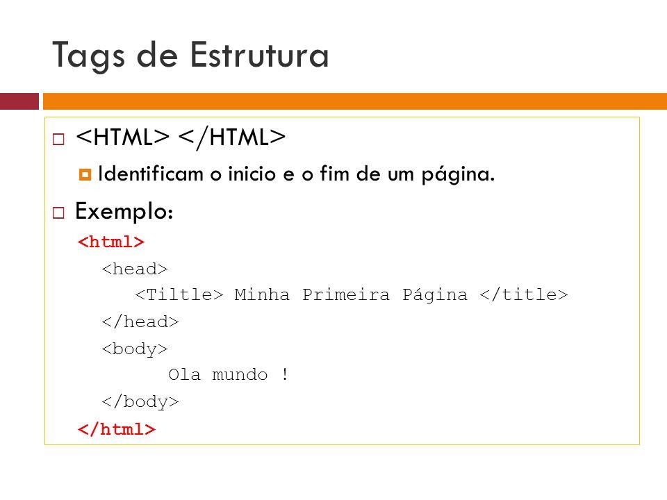Tags de Estrutura Área para publicação de informações sobre a página que auxiliam a indexação por buscadores.