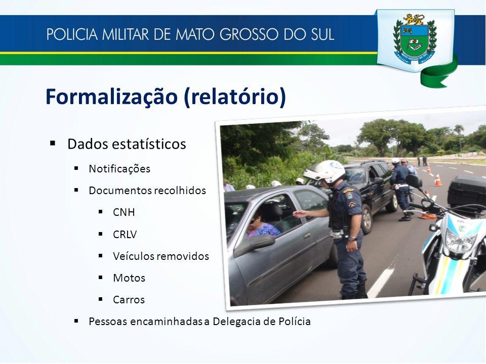 Formalização (relatório) Dados estatísticos Notificações Documentos recolhidos CNH CRLV Veículos removidos Motos Carros Pessoas encaminhadas a Delegac