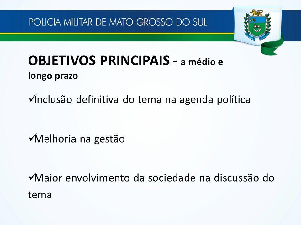 OBJETIVOS PRINCIPAIS - a médio e longo prazo Inclusão definitiva do tema na agenda política Melhoria na gestão Maior envolvimento da sociedade na disc