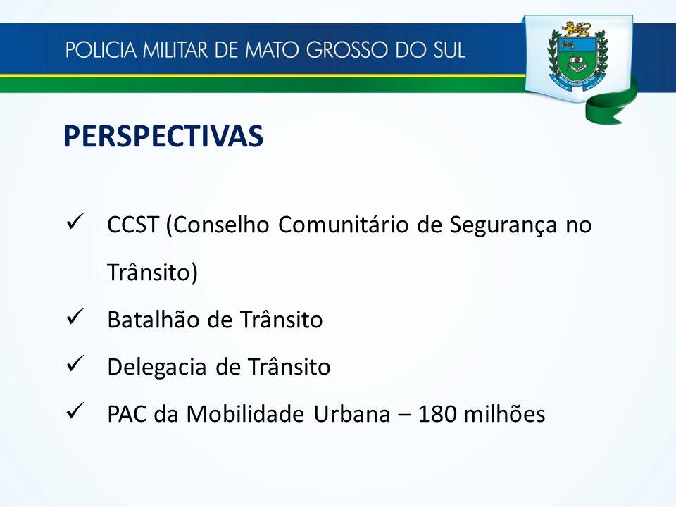 PERSPECTIVAS CCST (Conselho Comunitário de Segurança no Trânsito) Batalhão de Trânsito Delegacia de Trânsito PAC da Mobilidade Urbana – 180 milhões