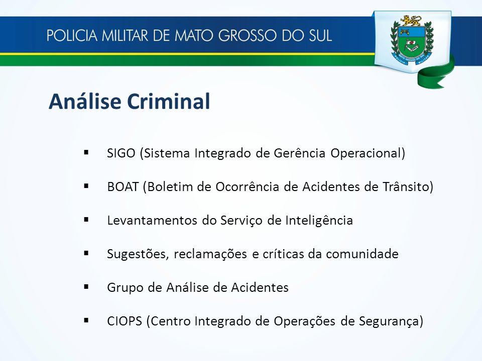 Análise Criminal SIGO (Sistema Integrado de Gerência Operacional) BOAT (Boletim de Ocorrência de Acidentes de Trânsito) Levantamentos do Serviço de In