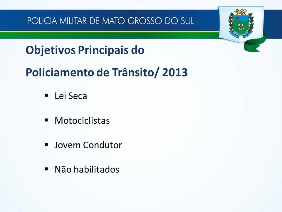 Objetivos Principais do Policiamento de Trânsito/ 2013 Lei Seca Motociclistas Jovem Condutor Não habilitados