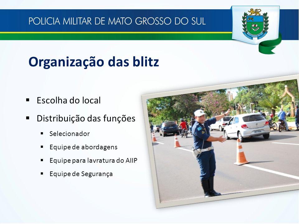 Organização das blitz Escolha do local Distribuição das funções Selecionador Equipe de abordagens Equipe para lavratura do AIIP Equipe de Segurança