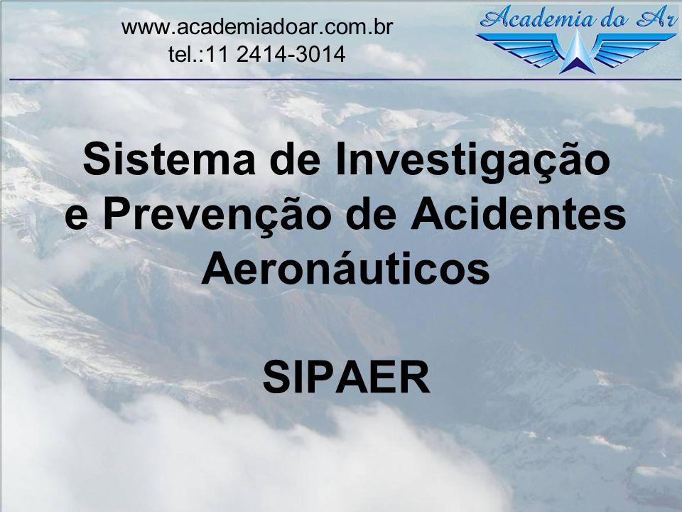 Investigação SIPAER Processo conduzido por profissional credenciado pelo SIPAER voltado para a identificação de condições de perigo e/ou de fatores contribuintes, visando exclusivamente à prevenção de acidentes aeronáuticos.