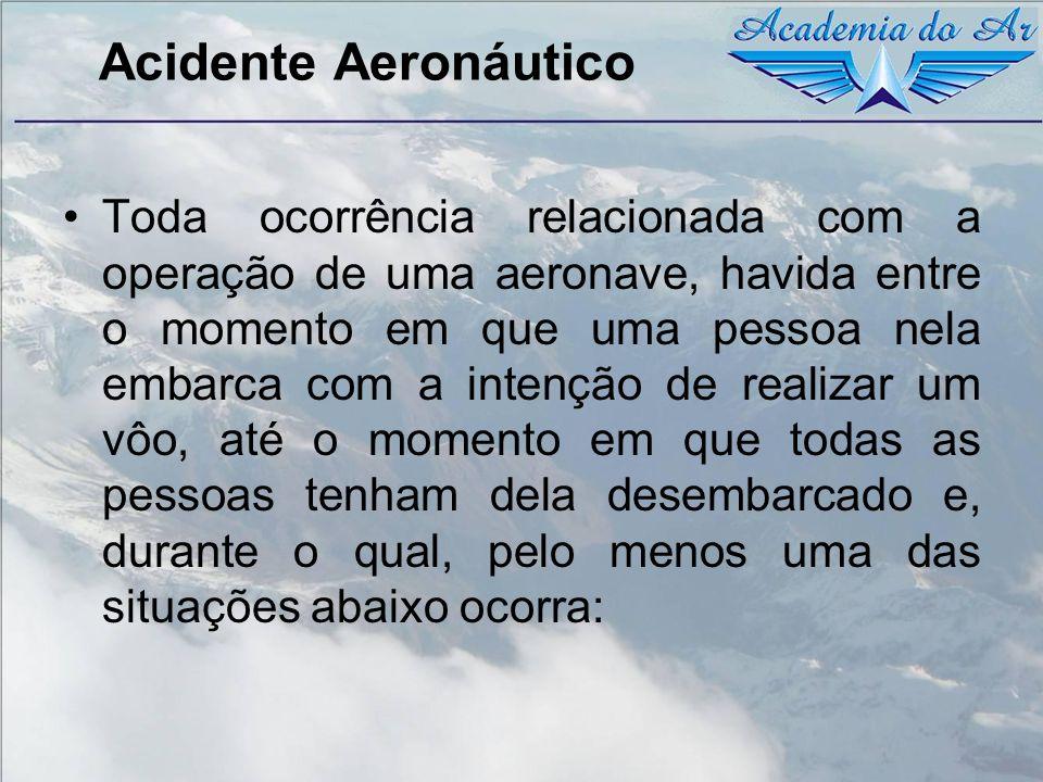 Acidente Aeronáutico Toda ocorrência relacionada com a operação de uma aeronave, havida entre o momento em que uma pessoa nela embarca com a intenção
